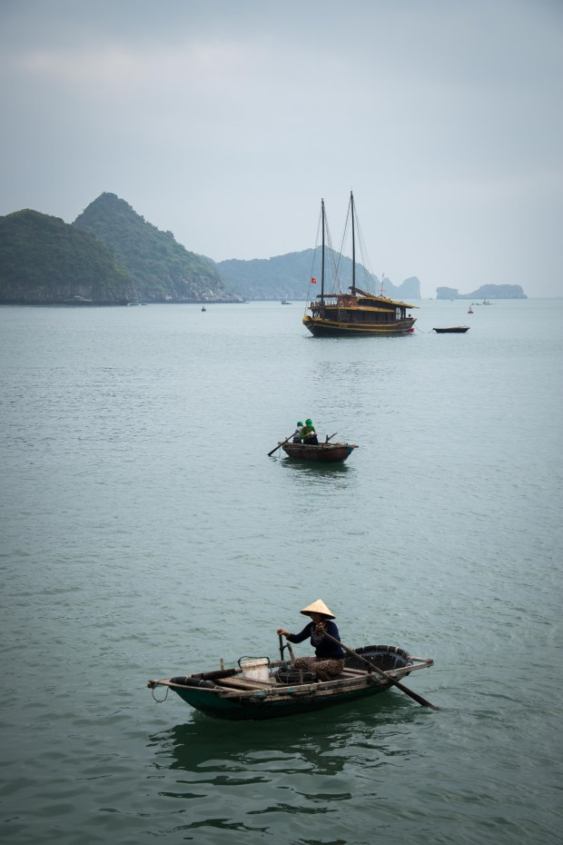 Three Boats in Ha Long Bay